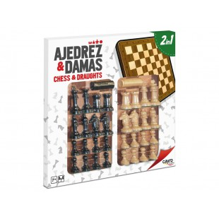 Ajedrez & Damas: Tablero de madera con accesorios.
