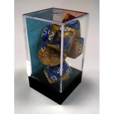 Set de 7 dados: Gemini Blue-gold w/white