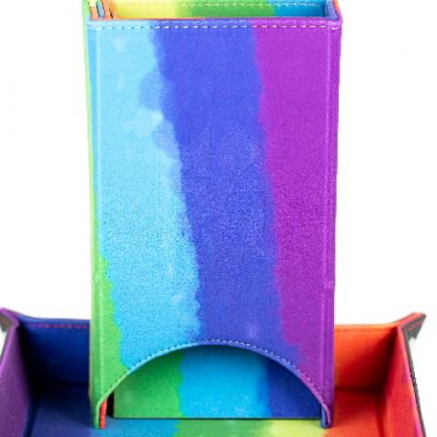 Torre de dados de terciopelo plegable (acuarela arcoiris)