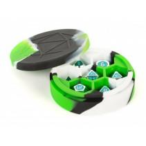 Estuche de dados redondo de silicona (verde/negro/blanco)
