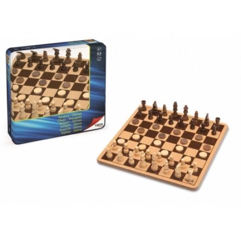 Ajedrez - Damas de Madera Metal Box